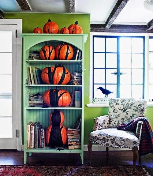 The Pumpkin Tree Book Shelf. A100718 Country LIving Halloween October 2010
