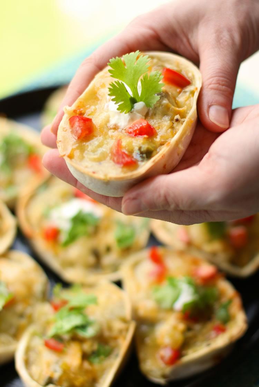 Mini Green Chicken Enchilada Taco Boats