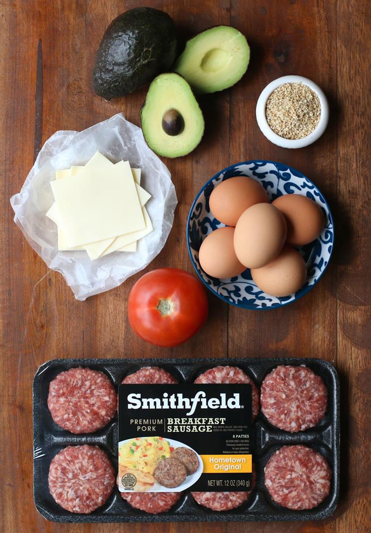 "Smithfield Avocado ""Bun"" Breakfast Sausage Sandwiches Ingredients"