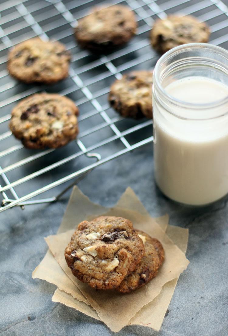 Best Ever White And Dark Chocolate Chip Cookie Recipe (Small Half Batch) www.onbetterliving.com
