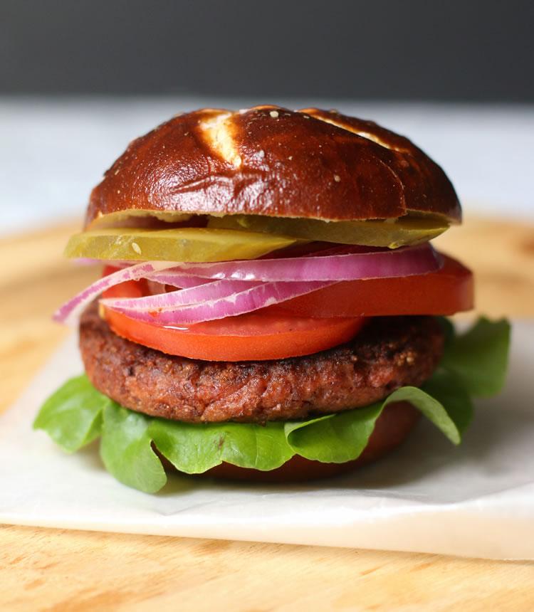 Plant Based Beyond Meat Burger on a Pretzilla Bun