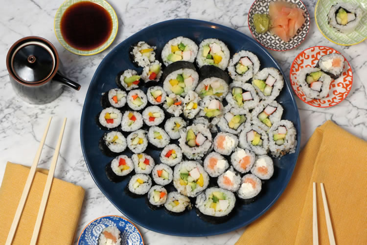 Making Sushi Rolls For Your Holiday Party Is Easy Here S How Better Living Basic sushi prep and rolling techniques. easy sushi rolls