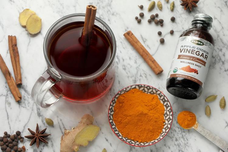 Chai Detox Tea Recipe with Flora Apple Cider Vinegar Turmeric Cinnamon