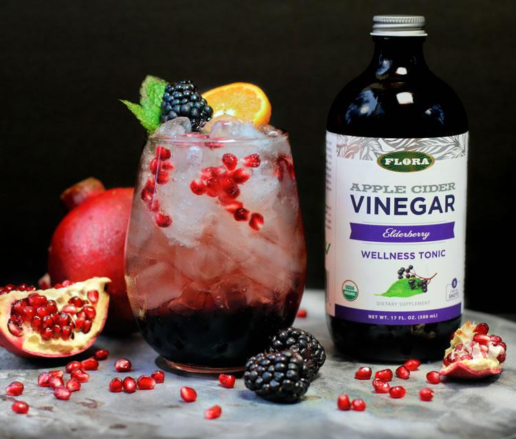 Sparkling Elderberry Pomegranate Shrub made withe Elderberry Apple Cider Vinegar Tonic
