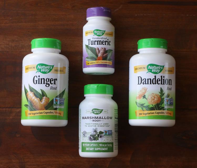 Best Herbs For Gut Health Ginger marshmallow root dandelion turmeric