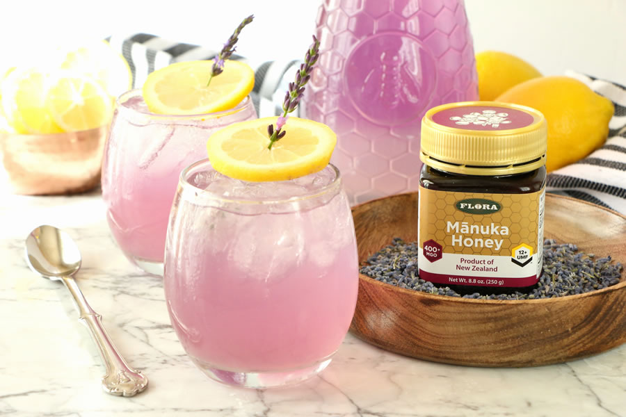 Healthy Recipe for Naturally Purple MĀNUKA HONEY Sweetened LAVENDER LEMONADE