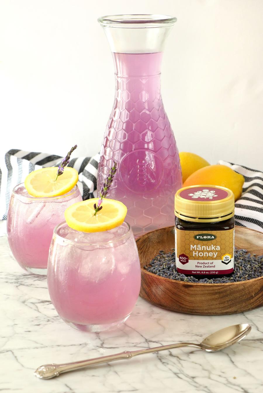 MĀNUKA HONEY + LAVENDER LEMONADE Recipe Made With Flora Manuka Honeyy
