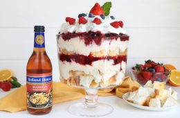 A Mixed Berry Holiday winter Trifle with Angel Food Cake and Marsala Wine