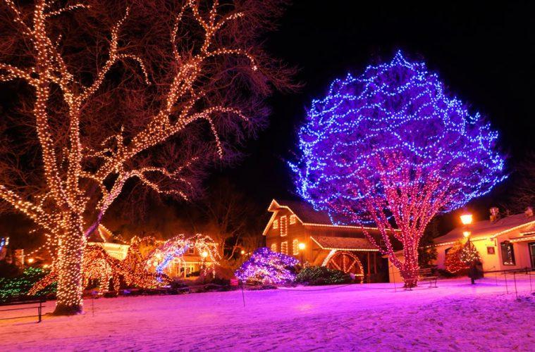 Christmas lights holiday display at Peddlers Village Lahaska Pennsylvania.