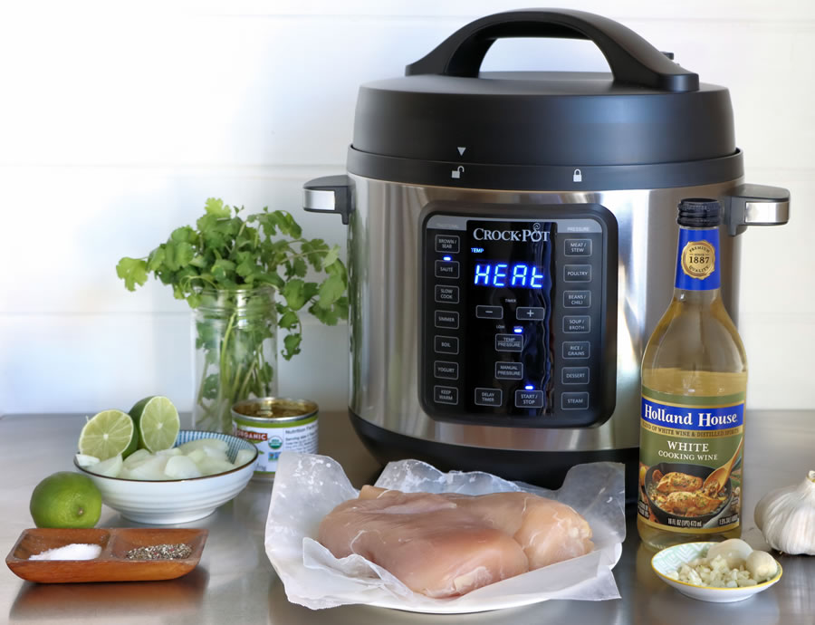 Green Chile Chicken Taco Ingredients Chicken Breast Lime Onion Holland House White Cooking Wine with the Crock-Pot XL Pressure Cooker