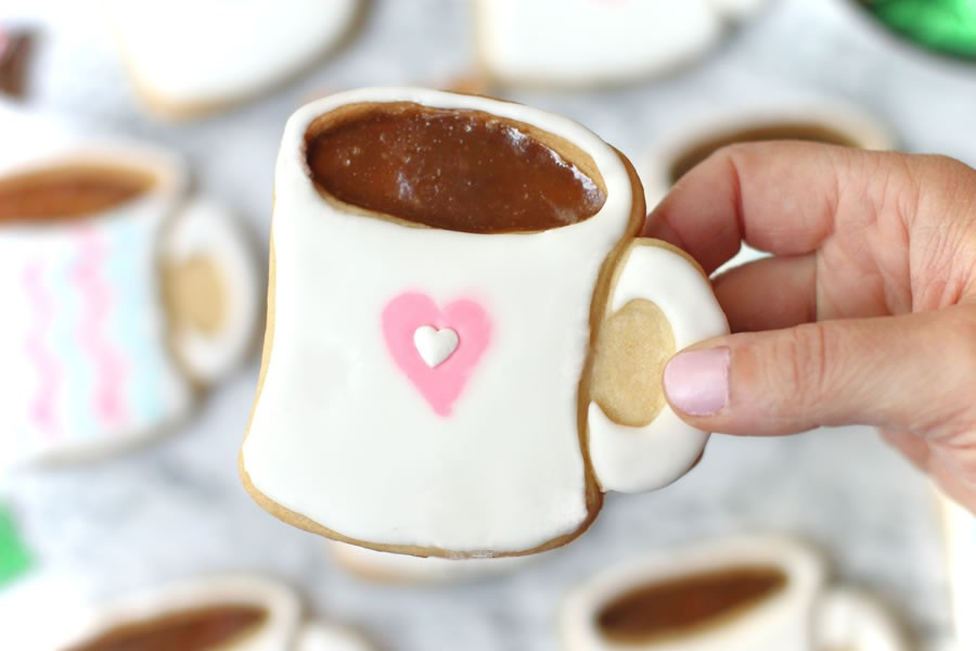 Coffee Mug Cut Out Cookies With Royal Icing And Mocati Candy | https://onbetterliving.com