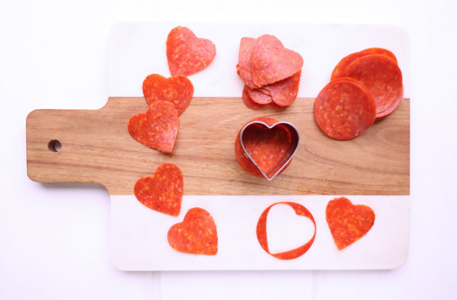 heart shaped pepperoni slices