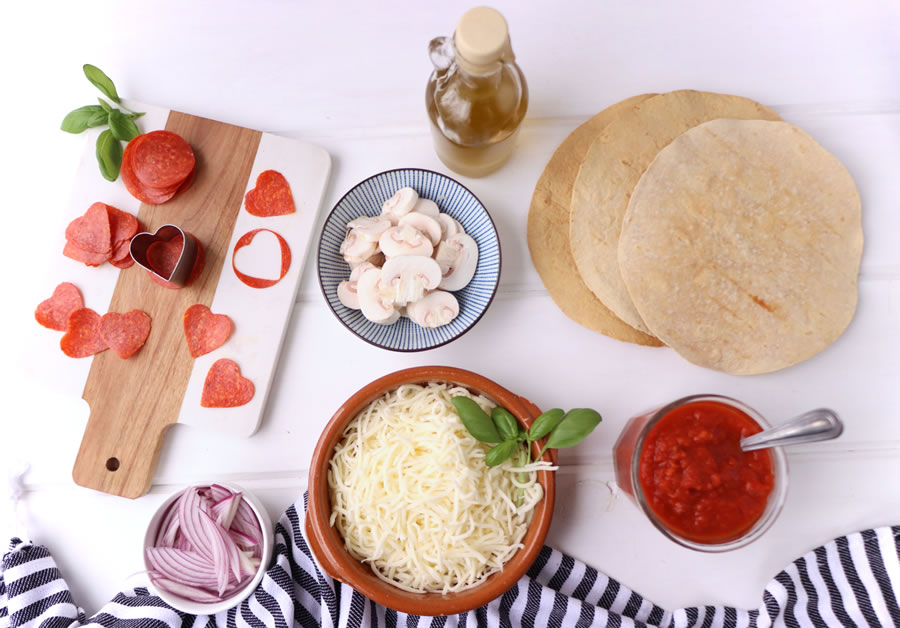 pepperoni cheese onions sauce low carb tortillas olive oil pepperoni hearts