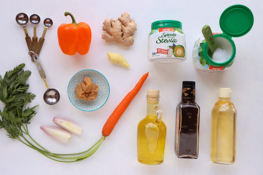 ingredients for carrot ginger dressing rice wine vinegar oil shallot orange bell pepper miso paste Splenda Stevia Naturals