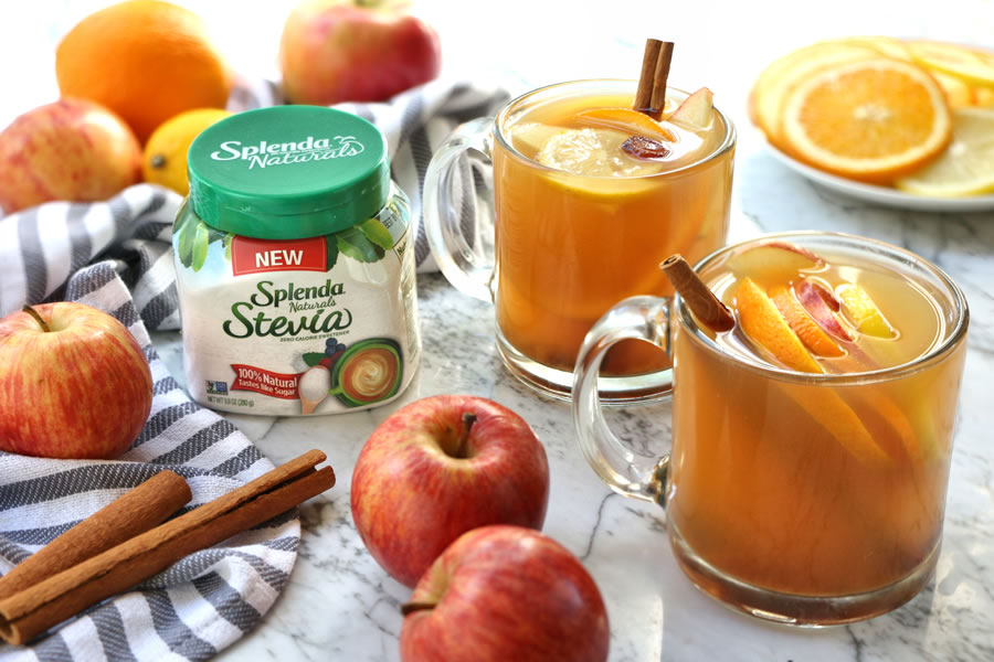 2 mugs recipe hot spiced mulled apple cider with splenda stevia ingredients orange apple cinnamon sticks