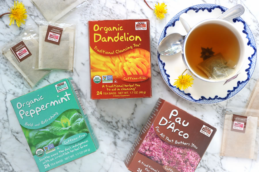 MAINTENANT des thés immunisants comme la menthe poivrée biologique de pissenlit biologique et Pau d'Arco