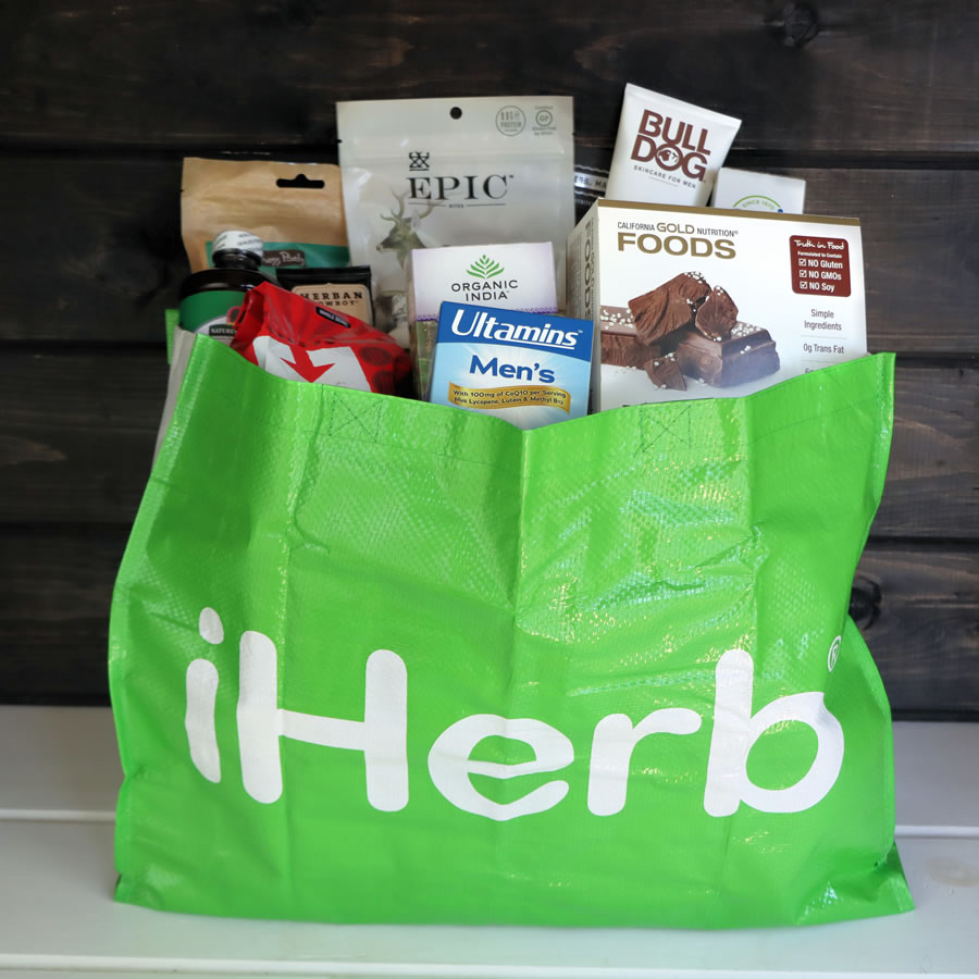 iHerb tote filled with products for a Father's Day Gift Basket