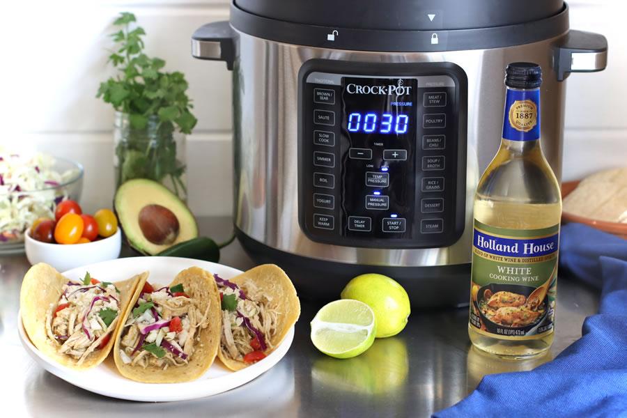 Crock Pot Green Chile Chicken Tacos