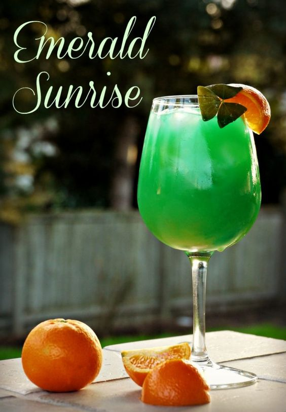 Emerald Sunrise cocktail for St. Patrick's Day