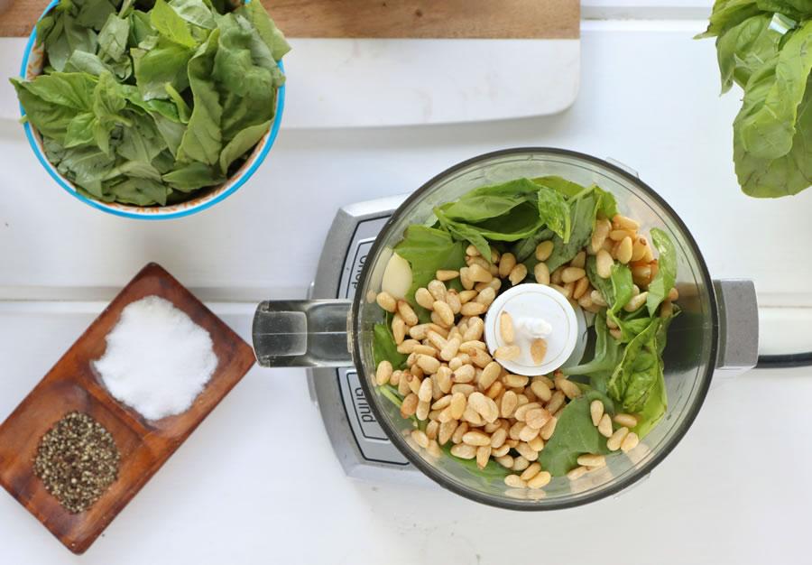 Easy Fresh Basil Pesto Ingredients in Food Processor