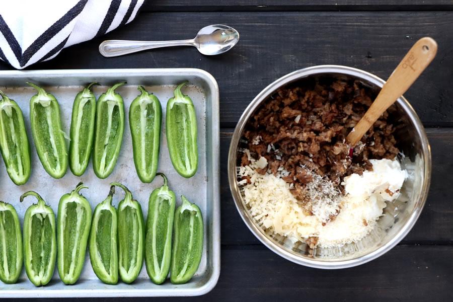 making sausage filling for baked jalapenos