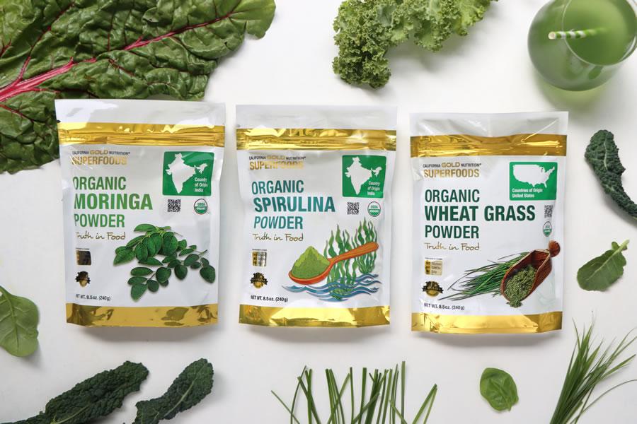 California Gold Nutrition Poudre de moringa biologique Poudre de spiruline biologique et poudre d'herbe de blé biologique