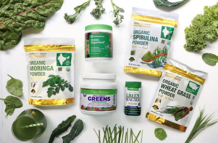 California Gold Nutrition Organic moringa powder Organic spirulina powder and organic wheat grass powder Green magma barley grass powder amazing grass and paradise orac energy greens